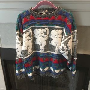 Vintage 100% acrylic dancing elephant sweater
